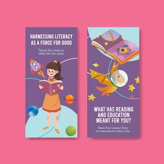 Flyer-sjabloon met conceptontwerp van de internationale dag van de alfabetisering voor brochure en folder aquarel.
