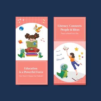 Flyer-sjabloon met conceptontwerp van de internationale dag van de alfabetisering