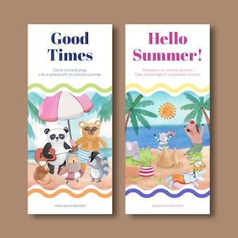 Flyer-sjabloon met dieren in de zomer in watercoor-stijl