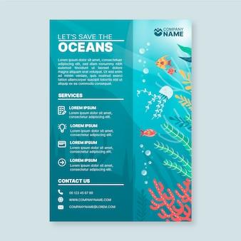 Flyer-sjabloon met elementen van de oceanen