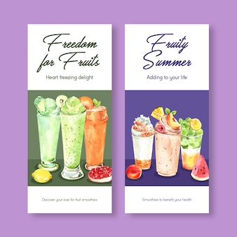 Flyer-sjabloon met fruit smoothies concept