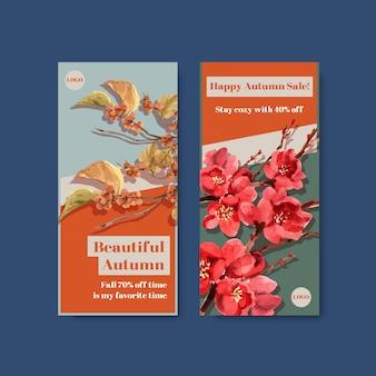 Flyer-sjabloon met herfst bos en dieren