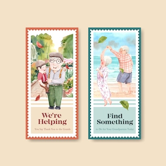 Flyer-sjabloon met het conceptontwerp van de nationale grootoudersdag voor reclame en marketing van aquarel.