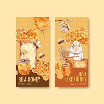Flyer-sjabloon met honing aquarel