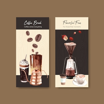 Flyer-sjabloon met internationale koffie dag conceptontwerp voor adverteren en brochure aquarel