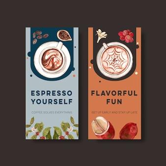 Flyer-sjabloon met internationale koffie dag conceptontwerp voor adverteren en brochure aquarel