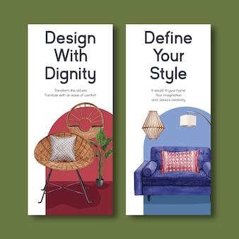 Flyer sjabloon met jassa meubelen conceptontwerp voor brochure en folder aquarel vectorillustratie