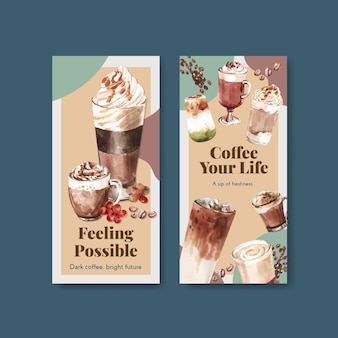 Flyer-sjabloon met koreaanse koffie stijl concept voor brochure en folder aquarel