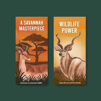 Flyer sjabloon met savanne wildlife concept aquarel illustratie Premium Vector