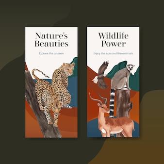 Flyer sjabloon met savanne wildlife concept aquarel illustratie