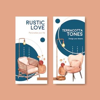 Flyer sjabloon met terracotta decor conceptontwerp voor brochure en marketing aquarel vectorillustratie