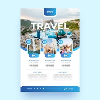 Flyer-sjabloon met verloop voor reizen met foto