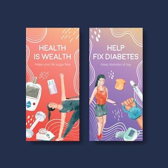 Flyer-sjabloon met wereld diabetes dag voor brochure en folder aquarel