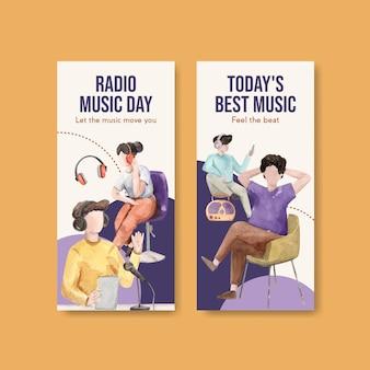 Flyer sjabloon met wereld radio dag conceptontwerp voor brochure en folder aquarel illustratie
