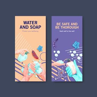 Flyer-sjabloon met wereldwijd conceptontwerp voor de handwasdag