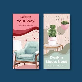 Flyer-sjabloon set met luxe meubels in aquarel stijl