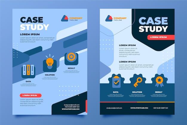 Flyer-sjabloon voor casestudy's met plat ontwerp