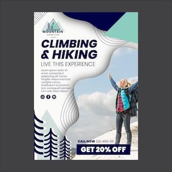 Flyer-sjabloon voor klimmen en wandelen