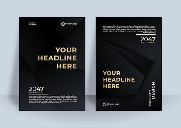 Flyer sjabloon zwart goud cover ontwerp lay-out set voor het bedrijfsleven.