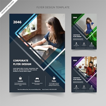 Flyer template design rectangle lines 3 kleuren, georganiseerde laag