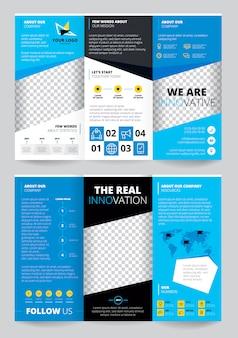 Flyer trasparent ontwerp in blauwe kleur met bedrijfsinformatie wereldkaart