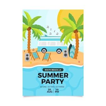 Flyer van zomerfeest plat ontwerp