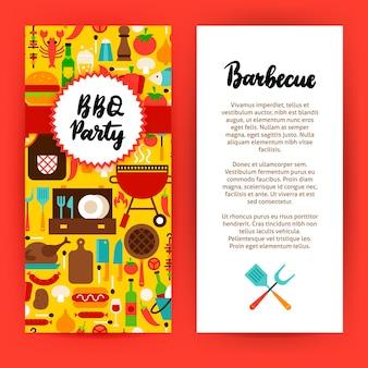 Flyer voor barbecuefeestjes. platte ontwerp vectorillustratie van merkidentiteit voor barbecue promotie.