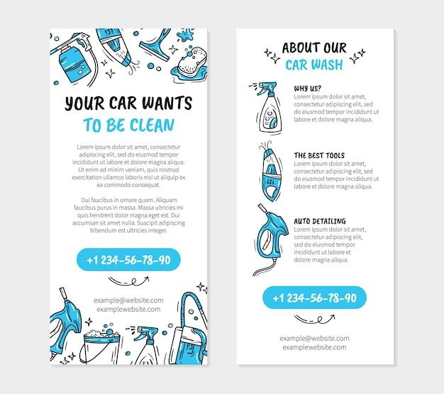 Flyer voor de wasstraat en autodetaling in doodle-stijl