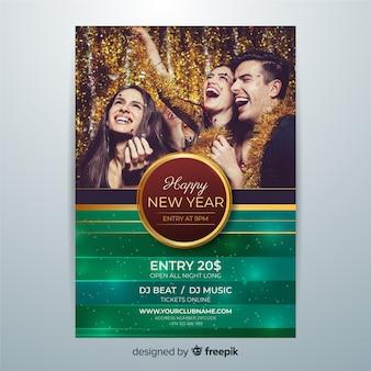 Flyer voor het nieuwe jaar 2020 en mensen die plezier hebben
