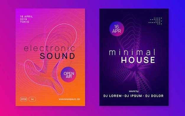 Flyer voor neon trance-evenementen. techno dj-feest.