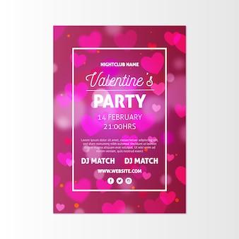 Flyer voor valentijnsdag feest