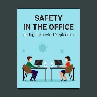 Flyerontwerp: veiligheid op kantoor op tijd voor de coronavirusepidemie.