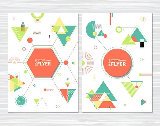 Flyers met abstracte geometrische vormen