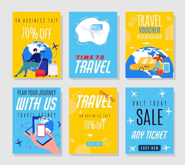 Flyers voor reisagentschappen die hoge prijzen aanbieden op tickets