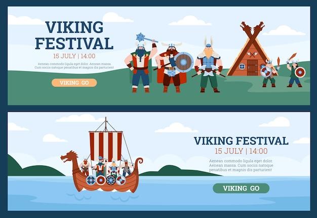 Flyers voor vikingfestival met krijgers in drakkar platte vectorillustratie