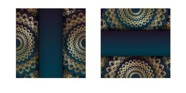 Flyersjabloon met blauwe kleurverloop met mandala gouden patroon voor uw felicitaties.