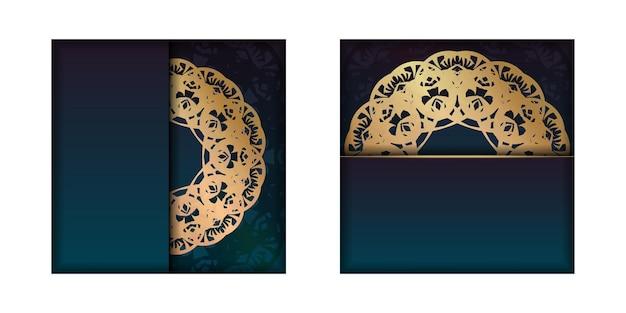 Flyersjabloon met blauwe kleurverloop met mandala gouden patroon voor uw merk.