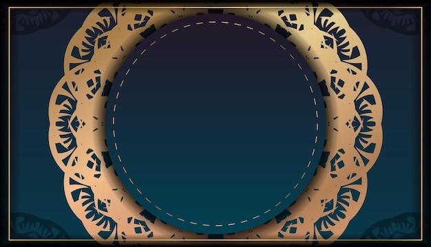 Flyersjabloon met blauwe kleurverloop met mandala gouden patroon voor uw ontwerp.