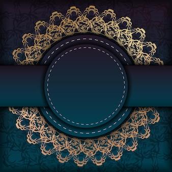 Flyersjabloon met blauwe kleurverloop met mandala gouden sieraad voor uw merk.