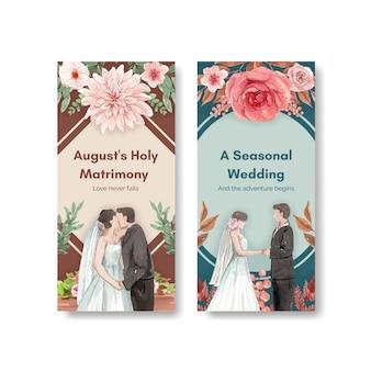 Flyersjabloon met bruiloft herfstconcept in aquarelstijl