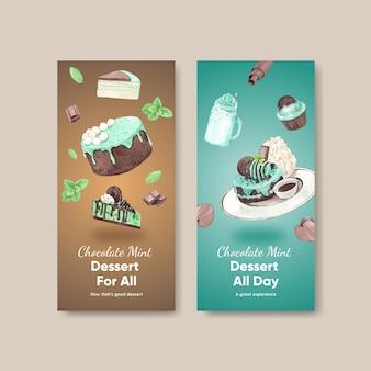 Flyersjabloon met chocolademuntdessert in aquarelstijl
