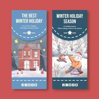 Flyersjabloon met gelukkige winter in aquarelstijl