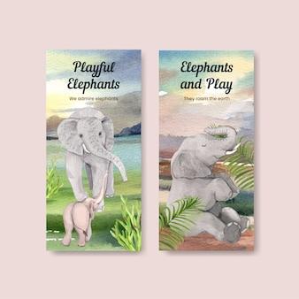 Flyersjabloon met olifant funning concept, aquarelstijl
