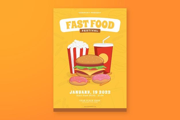 Flyersjabloon voor fastfoodfestival