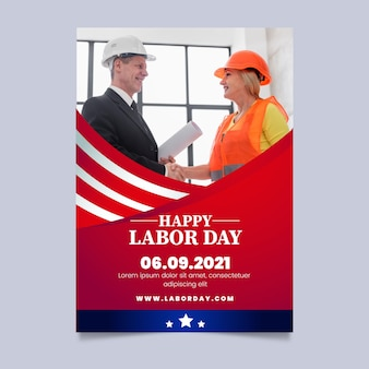 Flyersjabloon voor verticale verkoop met verloop van de arbeidsdag met foto
