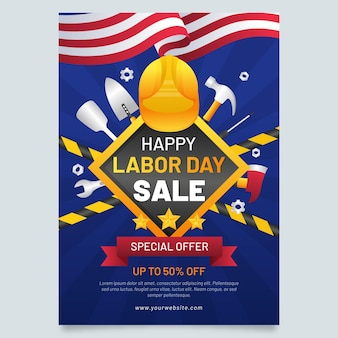 Flyersjabloon voor verticale verkoop van de dag van de arbeid met verloop
