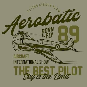 Flying aerobatic typografisch ontwerp