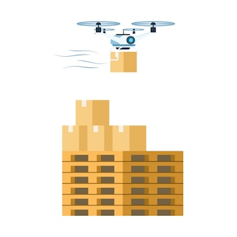 Flying air drone delivering cardboard package