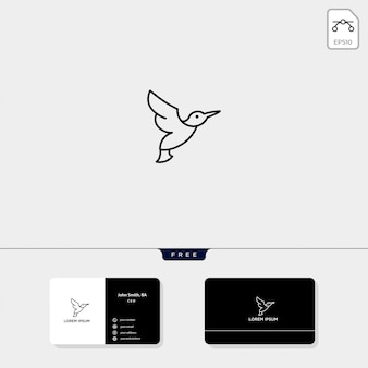 Flying bird outline logo template vector illustratie en business card design omvatten