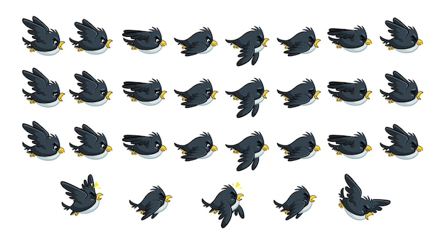 Flying black bird game sprites